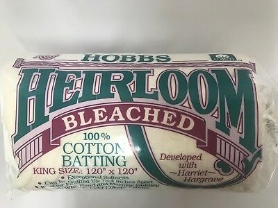 """Hobbs Heirloom Bleached 100% Cotton Batting King Size 90"""" x 108"""" QUILTING"""