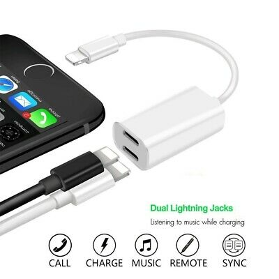 Dual Lightning Adapter 2in1 Splitter Audio Earphone AUX Charger For Apple iPhone