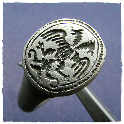 ** DOUBLE HEADED EAGLE ** ancient military SILVER ROMAN or BYZANTINE ring !!!