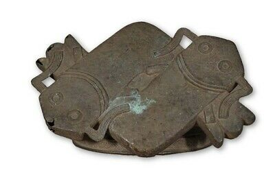 "Benin Bronze African Fish Stool 13"" in Length - Nigeria"