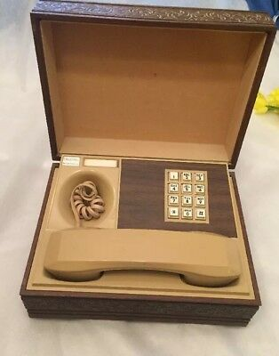 Vintage Western Electric Deco-Tel Push Button Phone in Wooden Box 1970's
