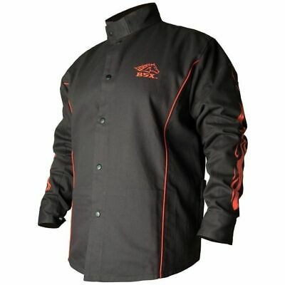 Revco BSX® Contoured FR Cotton Welding Jacket, Black/Red Flames