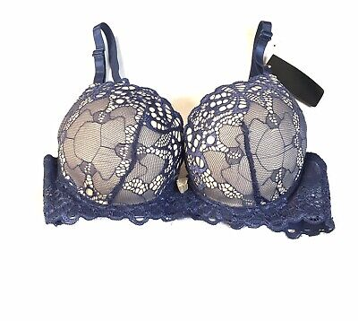 340fb0fed 34B bombshell Style Bra Adds Two Cup Sizes Estreme Push Up Overlay Blue Lace