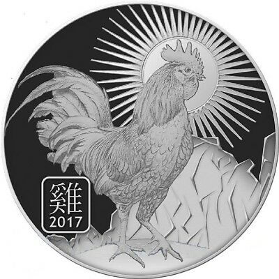 """2017 """"YEAR OF THE ROOSTER"""" / ZODIAC 1 oz. .999 Fine SILVER Round"""