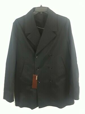 f198a3a3e46e New Perry Ellis Mens Black Double breasted Short Trench Coat Size XL