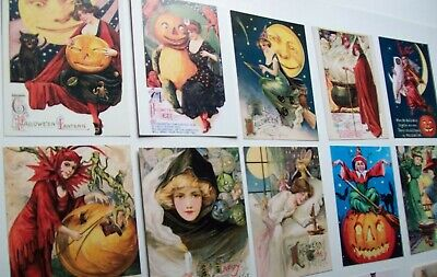 Halloween Post Card Lot Of (14) Reproduction Witches Black Cats Goblins Moons
