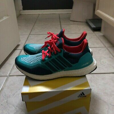 aad93ae044054 RARE ADIDAS ULTRA Boost 2.0 AQ4005 Mineral Green Shock Red Mens Size 8 -   140.00
