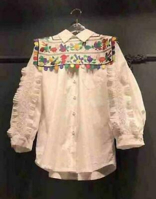 Womens Embroidery Floral Doll Collar Long Sleeves Shirt Fashion Blouses Tops