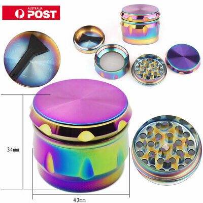 Rainbow Metal Zinc Alloy Hand Grinder 4 Layers Tobacco Herb Spice Crusher 40mm
