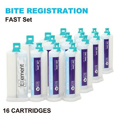 Element Bite Registration Material Fast Set 16 X 50Ml Cartridges Dental Vps Pvs