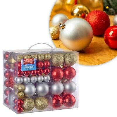 Christow 106 Assorted Christmas Baubles Shatterproof Xmas Tree Ornaments 4 Sizes