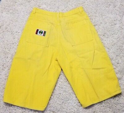 Vintage Cross Colours Rare Yellow Baggy Shorts Fit Size 34 **MUST SEE**