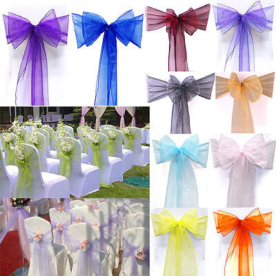 "100 pcs Organza Chair Cover Bow Sash 108/""x8/"" Wedding Party Banquet Reception"