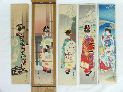 Japanese Old Collection of 5 Different Kimono Prints