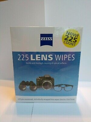 NEW Zeiss Pre-Moistened Lens Cleaning Wipes 225 Pack Gentle Cloths NIB
