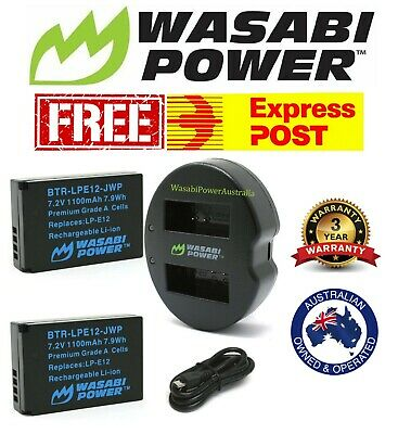 Wasabi Power Battery x 2 & Dual USB Charger for Canon LP-E12 Canon EOS M50 100D