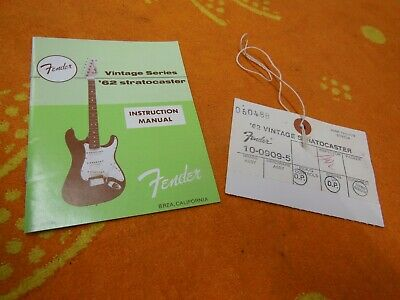 1962 RI FENDER Stratocaster Instruction Manual & Hang Tag 62 Vintage Series  AVRI