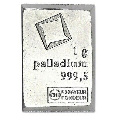 Palladium Metal 1 Gram Valcambi Bar CombiBar 99.95/% Pure Bullion