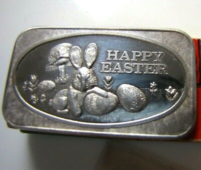 1974 1 Troy oz .999 Fine Silver Bar Happy Easter Bunny Art Ingot US Silver Co