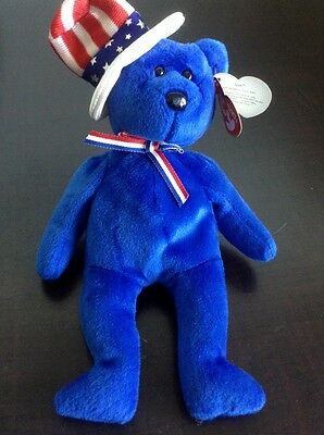 """Ty Beanie Babies """"Sam The American Bear""""  From 2003  Blue   Excellent Condition"""