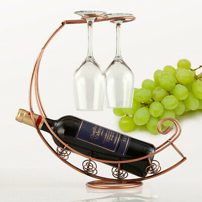 Wine Rack Glass Holder Metal Bracket Bottle Hanging Type Bar Display Stand
