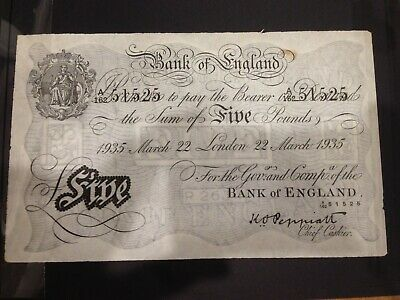 British Bank Note forgery (Operation Bernhard) 5 pound 22-3-1935. A162 51525. EF