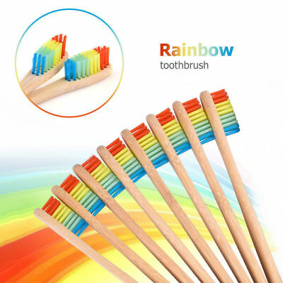 3x Eco-Friendly Bamboo Rainbow Toothbrush Handle Soft Health Oral Care Supplies