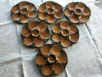 Set of 6 French Antique Sarreguemines Majolica Large Seafood Oyster