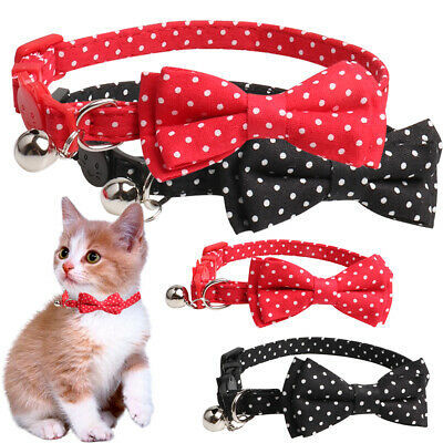 Cat Kitten Polka Dot Bow Tie Collar with Bell Pet Dog Adjustable Neck Tie Collar