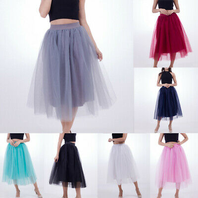 7c0b04d036 Women Plus Size Elegant Tulle Pleated Princess Ball Gown Mesh Bubble Solid  Skirt