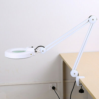 Magnifying Lamp 5'' SMD 5 Diopter Magnifier Table Light White 5X Glass Len Salon