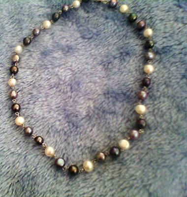 Stunning pearl necklace, as new, sterling silver, white grey and bluish tones.