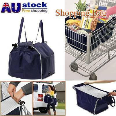Collapsible Eco Bag Supermarket Bag Fabric Shopping Clip-To-Cart Trolley Bag AU