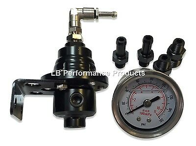 Fuel Pressure Regulator & Gauge for Subaru Impreza WRX - Black