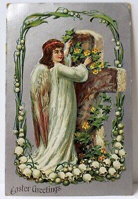 Beautiful Antique Easter Greetings Card, 1920, Angel, Lily of The Valley, Cross