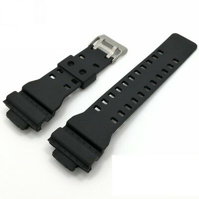 16mm Black Rubber Watch Strap Band Compatible for Casio GA-100 GA-100C GAC-100