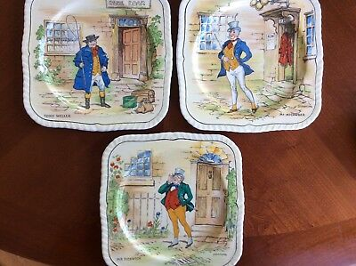 Charles Dickens characters on 3 salad plates, Alfred Meakin England vintage