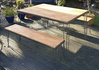 Handmade Reclaimed Wood Garden/Dining Table & Bench With Hairpin Legs. Rustic