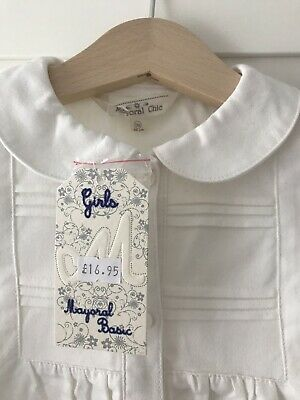 Mayoral Girls White Shirt Peter Pan Collar 18mnths NWT