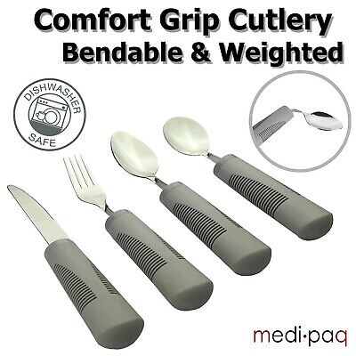 Medipaq Weighted Bendable Cutlery - Large Grip Disabled Senior Disability Aid