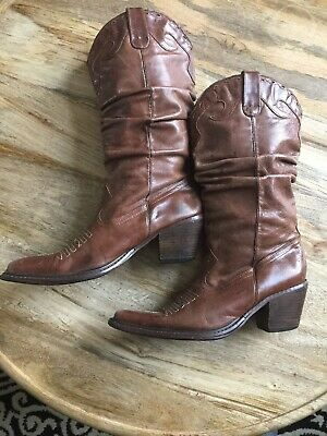 c35006e1ba0 Steve Madden Western Cowgirl Boots Brown Distressed Soft Leather Women s  Size 8M