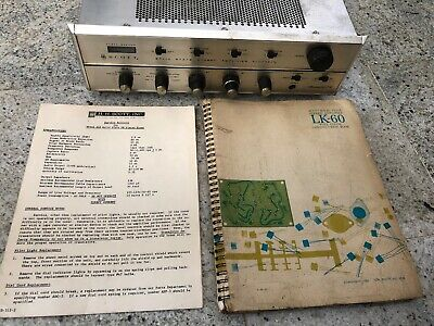 Vintage H.H. Scott Stereomaster LK-60 Stereo Amplifier W/Color Construction Book
