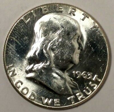 1963-P 50C Franklin Half Dollar 18wct0828 90% Silver UNC 50 Cents Shipping