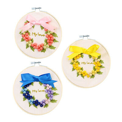 3D Silk Ribbon Rmbroidery with Fruits Pattern Cross Stitch Kit for Beginners