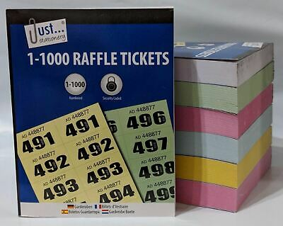 Just Stationary 1-1000 Raffle Tombola Cloakroom Tickets