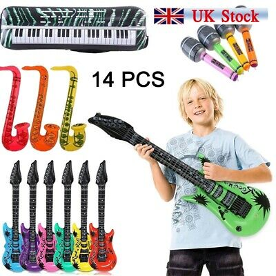 14x Inflatable Music Instrument  Guitar/Microphone/SAXOPHONE MIX COLOR BLOW UP