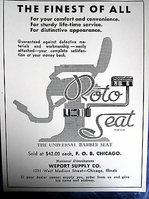 "Vintage""Universal Barber Chair""Roto Seat  Photo Sign Ad"