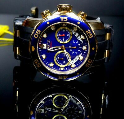 New! Invicta 21929 Mens Pro Diver Scuba 18kt Gold Plated Blue Chronograph Watch