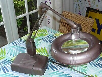 Large Vintage Industrial Floating Arm RS Magnifying Lamp USA RETRO 1950s Working