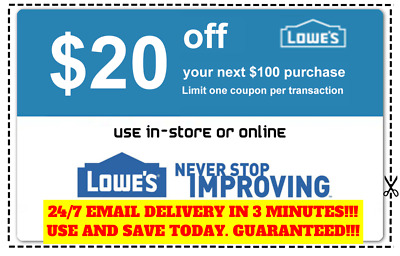 THREE 3x Lowes $20 OFF $100 Coupons Discount - In store&online - Fast Shipment